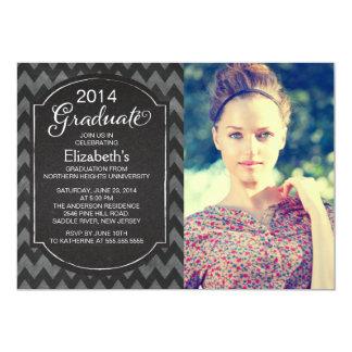 """Chalkboard Chevron Photo Graduation Party Invite 5"""" X 7"""" Invitation Card"""