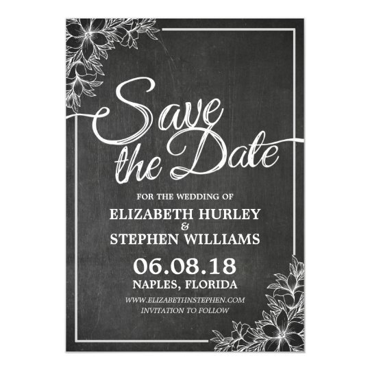 Chalkboard Chic Floral Frame Wedding Save The Date Card