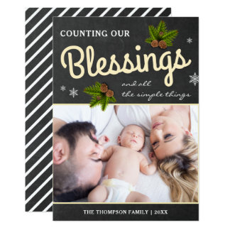Chalkboard Christmas Blessings | Family Photo Card