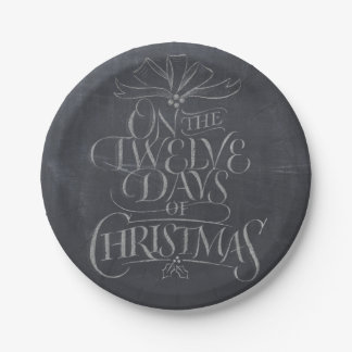 Chalkboard Christmas Calligraphy Lettering Chalk Paper Plate