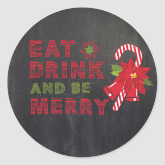 Chalkboard Christmas Eat Drink Envelope Sticker