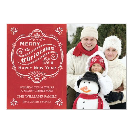 Chalkboard Christmas Holiday Photo Card Red