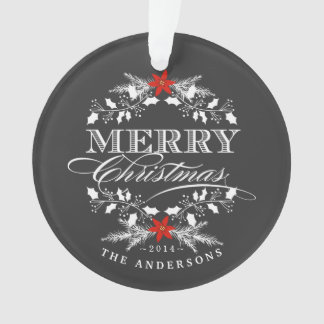 Chalkboard Christmas Holly Family Photo Ornament
