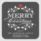 Chalkboard Christmas Holly Wreath Address Stickers