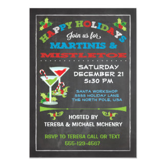 Chalkboard Christmas Mistletoe and Martinis PARTY Card