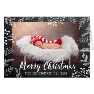 Chalkboard Christmas Snowy Branches Photo Card