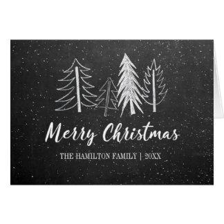 Chalkboard Christmas Snowy Trees Non-Photo Card