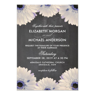 Chalkboard chrysanthemum flower wedding card