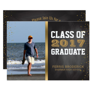 Chalkboard Class of 2017 | Photo Graduation Party Card