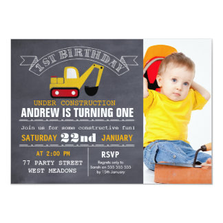 Chalkboard Construction 1st Birthday Invitation