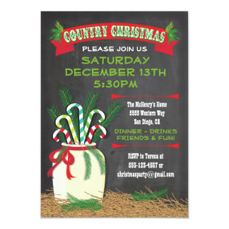 Chalkboard Country western Christmas Party Invite