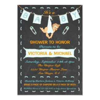 Chalkboard Couples Diaper Baby Shower Clothesline Card