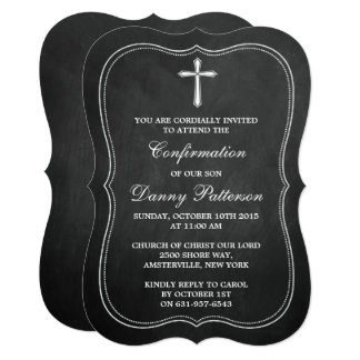 "Chalkboard Cross Holy Communion Or Confirmation 5"" X 7"" Invitation Card"
