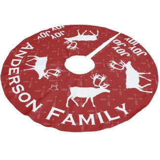 Chalkboard Crossed Arrow Reindeer Christmas Brushed Polyester Tree Skirt