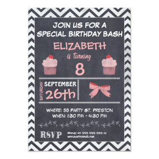 Chalkboard Cupcake Chevron Birthday Invitation