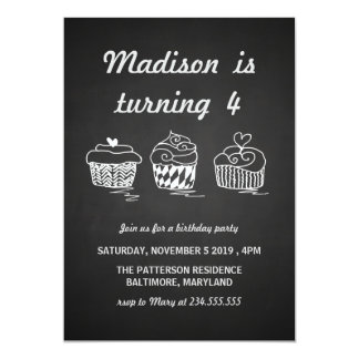 "Chalkboard Cute Cupcakes Heart Birthday Party 5"" X 7"" Invitation Card"
