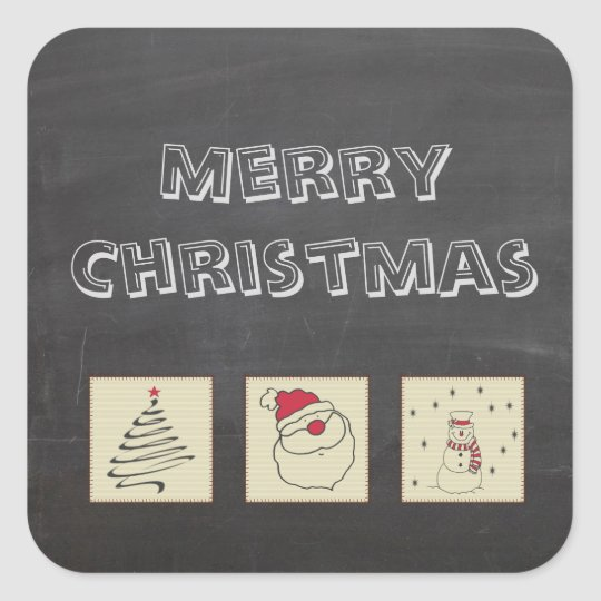 Chalkboard cute funny Christmas patchwork holiday Square Sticker