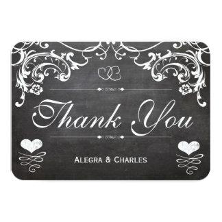 "Chalkboard Cute Heart Initials Typography RSVP 3.5"" X 5"" Invitation Card"