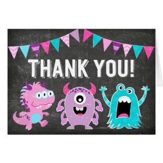 Chalkboard Cute Little Monsters Thank You Card