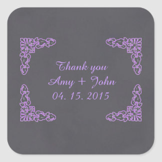Chalkboard damask favor tags save the date deco2 square sticker