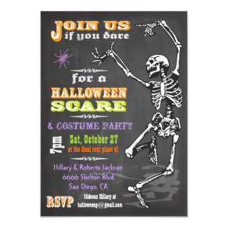Chalkboard Dancing Skeleton Halloween Party Invite
