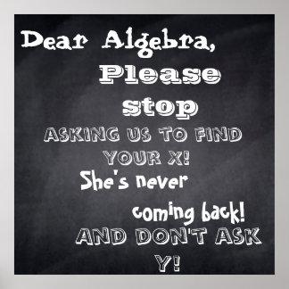 """chalkboard """"dear algebra"""" design poster"""