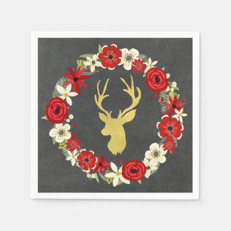 Chalkboard Deer Floral Wreath Christmas Napkin Disposable Napkins