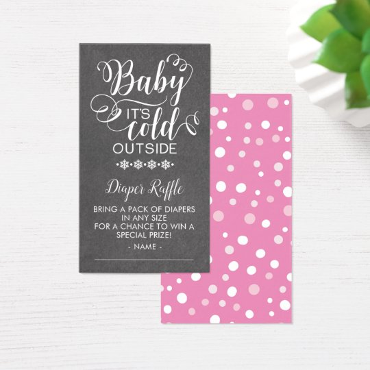 Chalkboard  Diaper Raffle Baby It's Cold Outside Business Card
