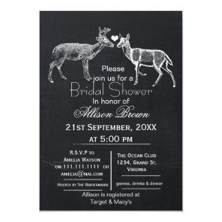 chalkboard doe and buck winter Bridal shower Card