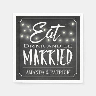 Chalkboard Eat Drink & Be Married Wedding Napkins Disposable Napkins