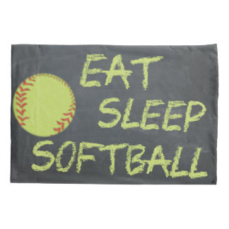 Chalkboard Eat Sleep Softball Pillowcase