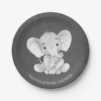 "Chalkboard Elephant Boys Baby Shower 7"" Plate"