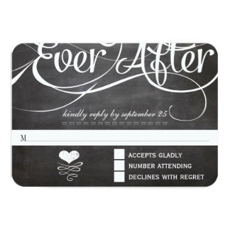 "Chalkboard Ever After Initials Typography RSVP 3.5"" X 5"" Invitation Card"