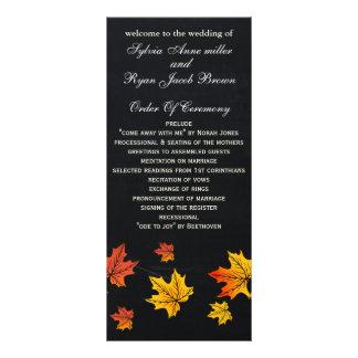 Chalkboard fall wedding programs tea length rack card design