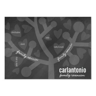 """Chalkboard Family Tree & Hearts Family Reunion 4.5"""" X 6.25"""" Invitation Card"""