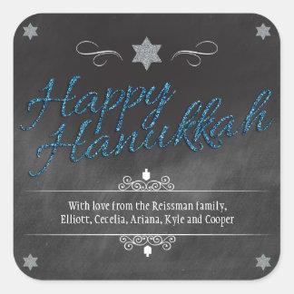 Chalkboard Faux BlueGlitter Hanukkah Square Sticker
