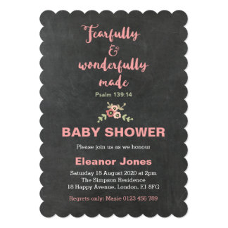 Chalkboard Fearfully and Wonderfully Shower Invite