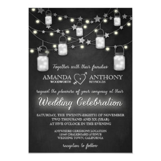 Chalkboard Firefly Mason Jar Wedding Invitations