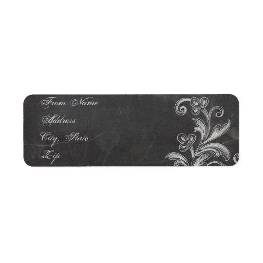 Chalkboard Floral Address Label