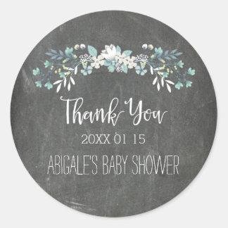 Chalkboard Floral Baby Shower Favor Stickers