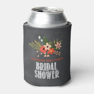 Chalkboard Floral Bridal Shower Can Cooler