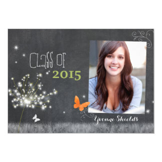 Chalkboard Floral Class of 2015 Photo Graduation Card