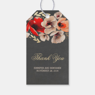 Chalkboard Floral Gold Rustic Wedding Pack Of Gift Tags