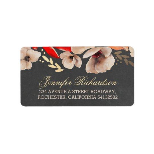 chalkboard floral gold wedding label