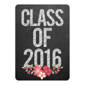 Chalkboard Floral Grad Class of 2016 Typography Card
