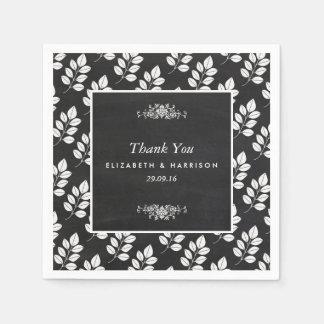 Chalkboard Floral Leaf Wedding Paper Napkin