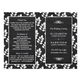 Chalkboard Floral Leaf Wedding Program