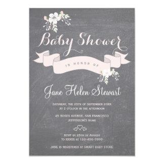 Chalkboard floral light pink ribbon baby shower card