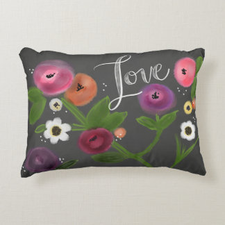 "ChalkBoard Floral LOVE Accent Pillow 16"" x 12"""