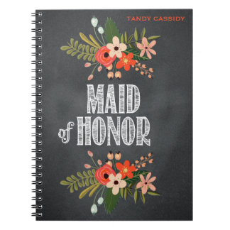 Chalkboard Floral Maid-of-Honor Notebook